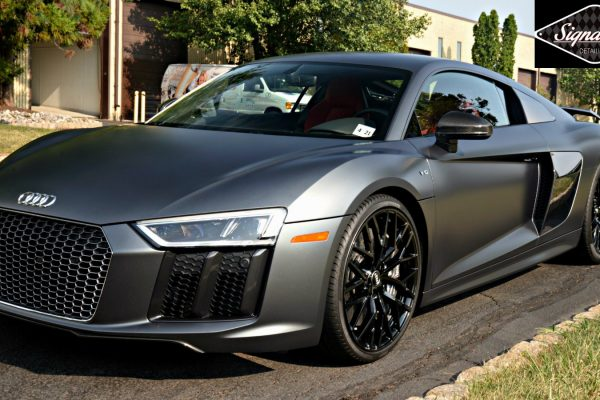 This Audi R8 is fully protected from road debris with a matte finish by Xpel Stealth PPF at Signature Detailing NJ & NYC