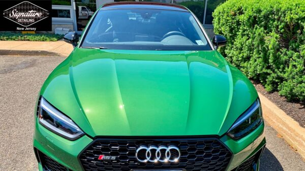 This Audi RS5 front end received Suntek Clearbra (PPF) Installation to protect it from rock chips and impacts by Signature Detailing NJ.