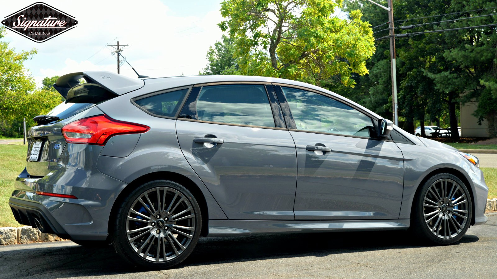 Ford Focus RS is blindingly bright after paint correction and Opti coat ceramic pro coating by signature detailing nj.