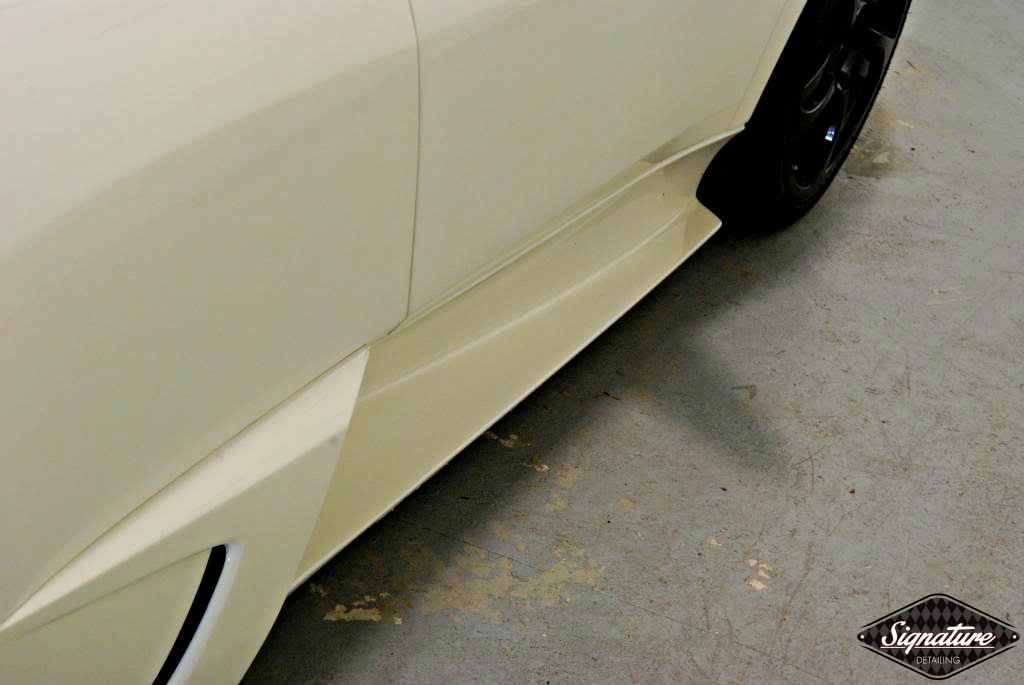 Paint Protection Film Removal & CQuartz Finest Coating Install - Custom 2009 Murciélago LP 640 coupé - Driver Rocker Panel