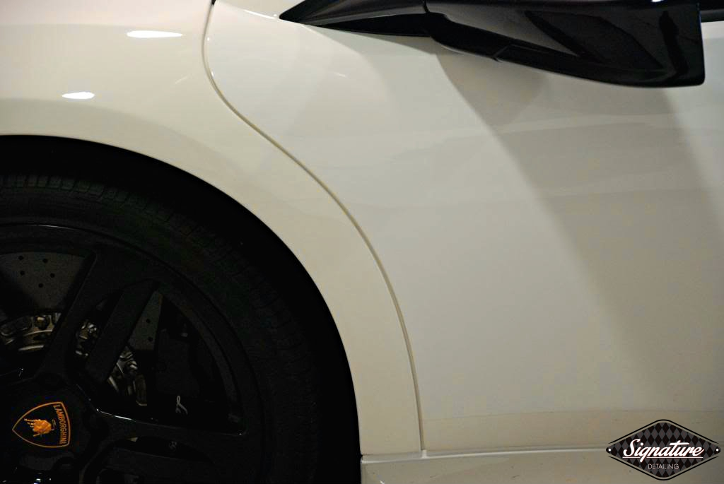 Paint Protection Film Removal & CQuartz Finest Coating Install - Custom 2009 Murciélago LP 640 coupé - Driver fender