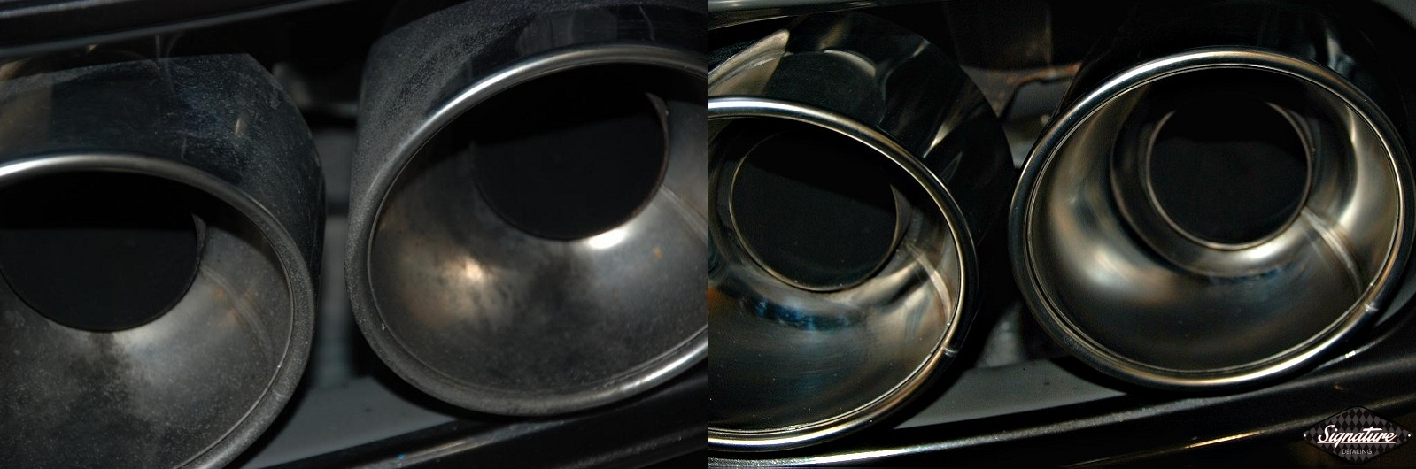 New Car Prep -Signature Detailing-Greg Gellas-exhaust tips polished BEFORE & AFTER