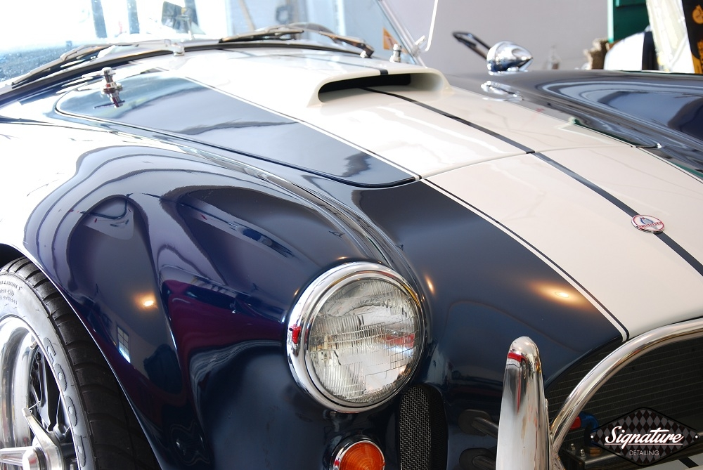 Shelby Cobra Replica Restoration Detail - Signature Detailing New Jersey - front hood in garage