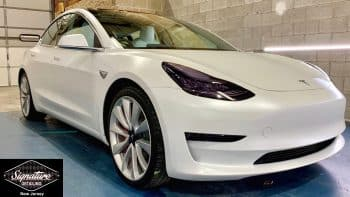 Tesla Model 3 paint was made matte by clear bra paint protection film installation by Signature Detailing New Jersey.