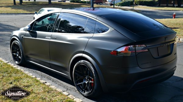 The matte finish on this Tesla Model X also protects the surface with Matte Clear Bra installed by Signature Detailing NYC.