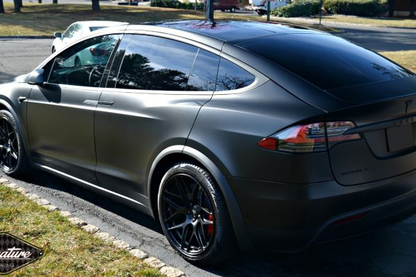 The matte finish on this Tesla Model X also protects the surface with Xpel Stealth clear bra performed by Signature Detailing NYC.